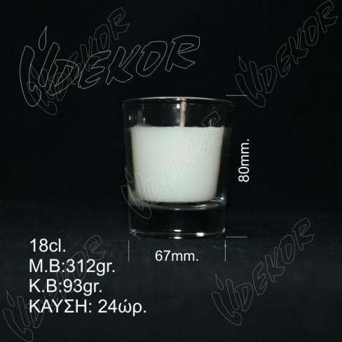 """Ποτήρι Κερί """"Κρασιού""""  Δεξιώσεων 24 ώρες καύσης  Λευκό 16cl.  12τεμ. Χονδρική (12x1,00€+ΦΠΑ)"""