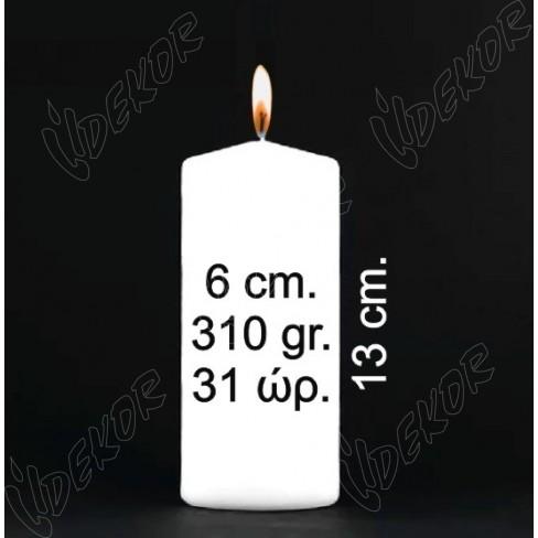 ΦΘΗΝΑ Κεριά Κυλινδρικά Μηχανής Αφινίριστα και Άβαφα Φ 6x13cm. Μόνο σε ΛΕΥΚΟ Συσκευασία  144 τεμ. x 1,24€+ΦΠΑ
