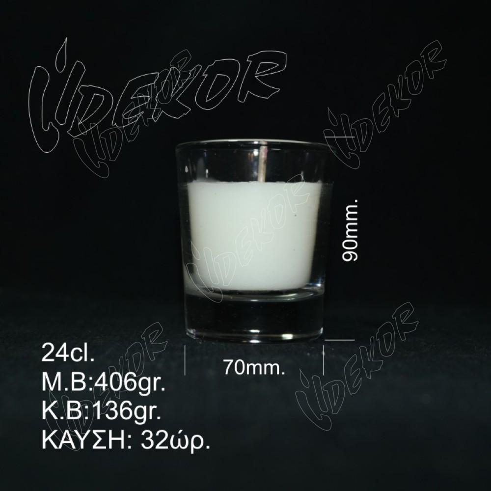 """Ποτήρι Κερί """"Ουίσκι"""" Δεξιώσεων 32 ώρες καύσης  Λευκό 24cl. 12τεμ. Χονδρική (12x1,25€+ΦΠΑ)"""
