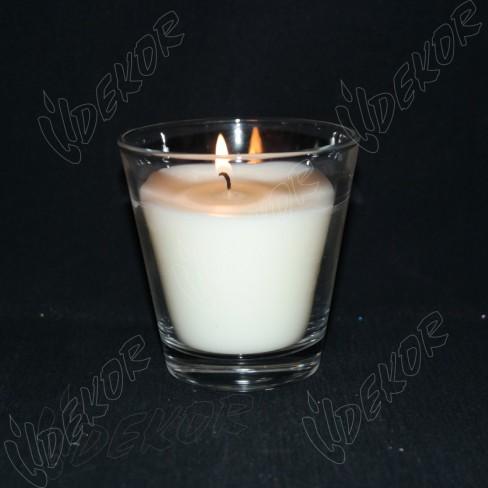"""Ποτήρι Κερί Μίνι """"Votka"""" Δεξιώσεων 20 ώρες καύσης  Λευκό 11cl. 24τεμ. Χονδρική (24x0,90€+ΦΠΑ)"""